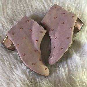 Blush pink booties with heart Studs